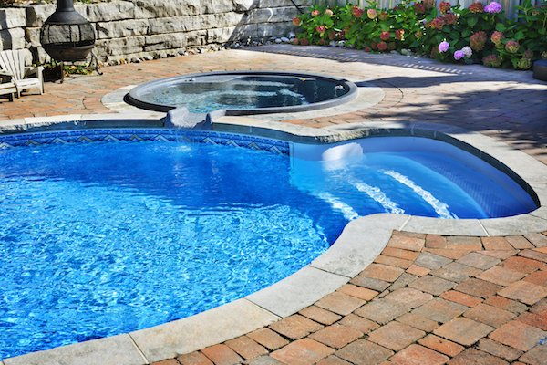 Freeform Pool With Hot Tub